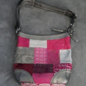 Coach Pink & Silver Patchwork Bag